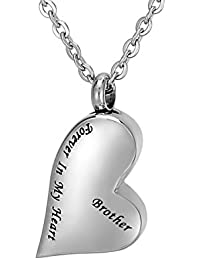 Valyria Cremation Jewelry Irregular Heart Forever in My Heart Memorial Ash Pendant Urn Necklace Keepsake Family Memorial