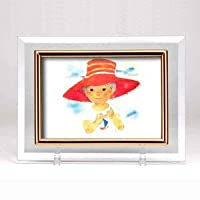 クリスタルフォトフレーム/写真立て 【ハガキサイズ 150×105mm対応】 いわさきちひろ 「赤い帽子(横)」 ds-1829147