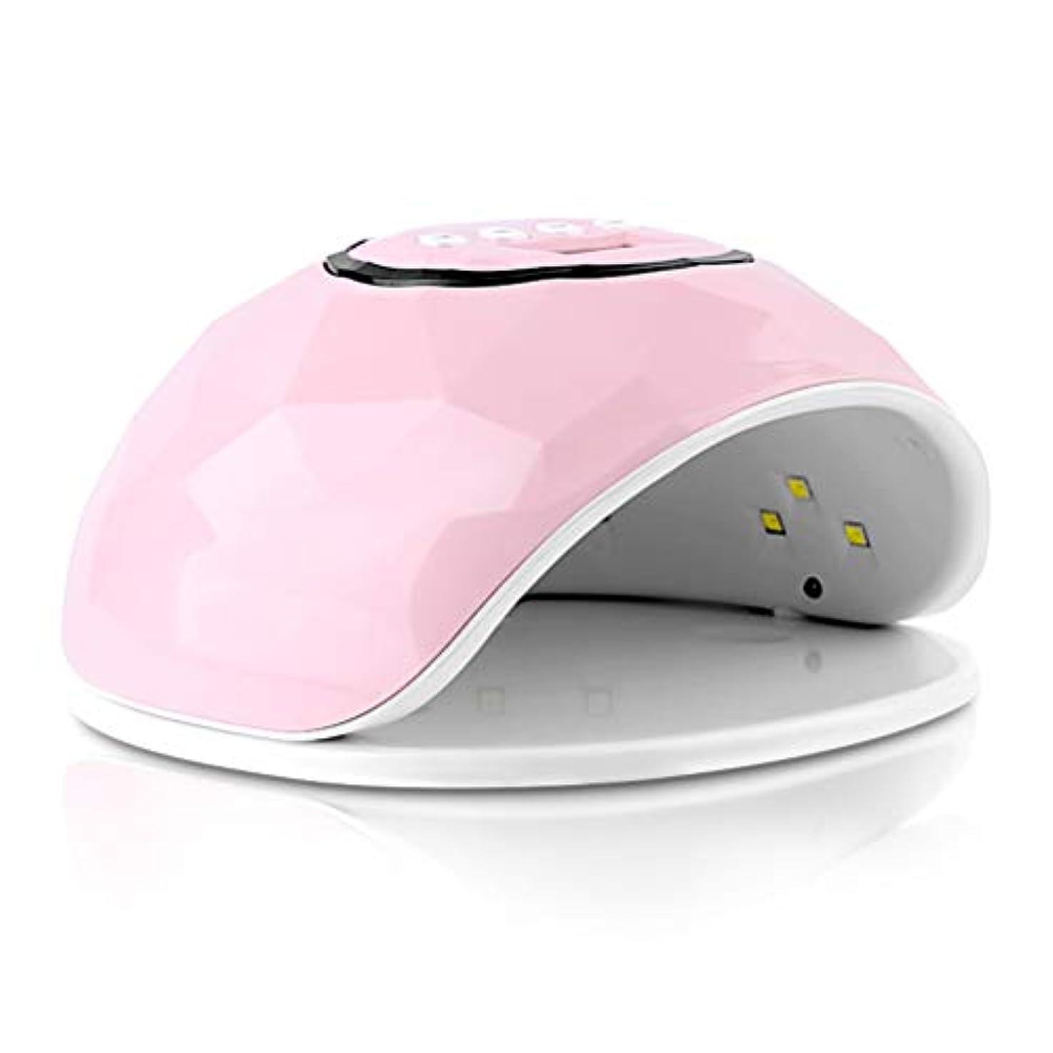 恥ずかしさ究極のクリアネイルランプ72Wネイル光線療法ランプ速乾性インテリジェント誘導マニキュアグルーベーキングランプLEDドライヤー (Color : Pink)