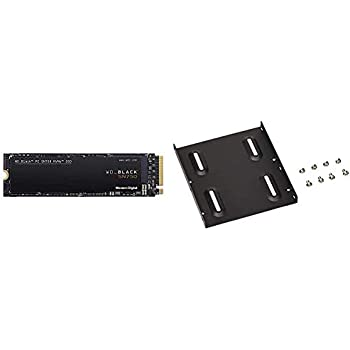 WESTERNDIGITAL【国内正規代理店品】WD 内蔵 SSD M.2 2280 / WD BLACK SN750 NVMe 1TB / ハイパフォーマンス SSD / WDS100T3X0C-EC & オウルテック 2.5インチHDD/SSD用→3.5インチサイズ変換ブラケット ネジセット付き ブラック OWL-BRKT04(B)