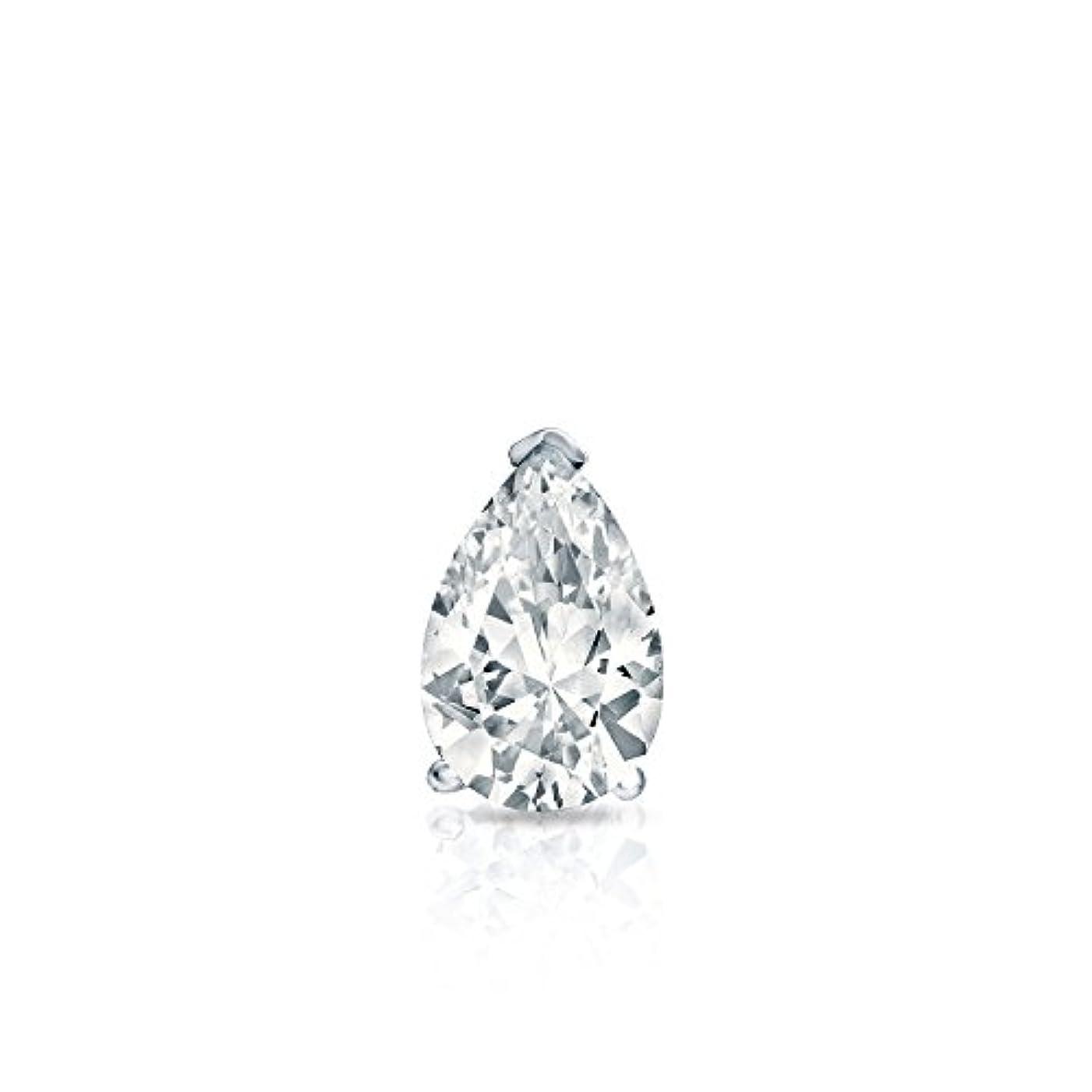 保険をかける精査する隠された14 KホワイトゴールドProng梨ダイヤモンドシングルスタッドイヤリング( 1 / 4 – 1 CT、Oホワイト、i1 - i2 ) push-back