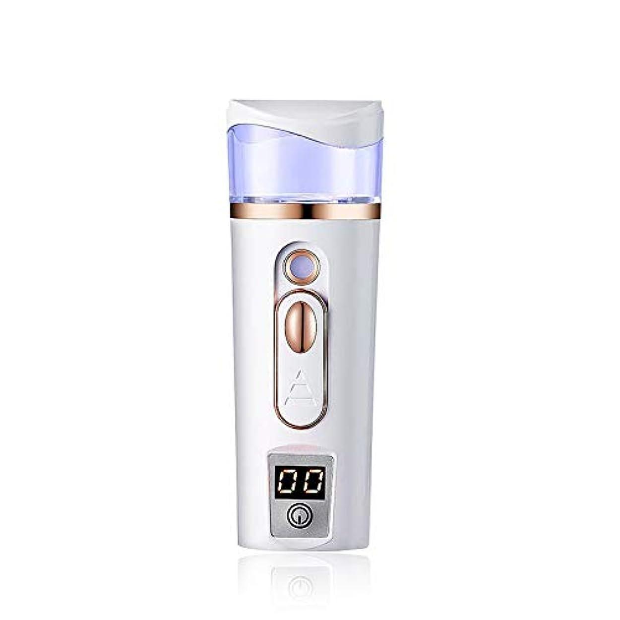 スリチンモイ気をつけて操作可能皮膚テスター、ナノフェイシャルスチーマー肌保湿ツール、USB充電式時限水不足防止,White
