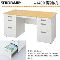SEIKO FAMILY(生興) 日本製 LCSシリーズ(ペールアルダータイプ) W1400 両袖机 LCS-147PW 【人気 おすすめ 】