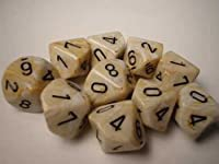 Chessex Dice Sets: Marble Ivory with Black - Ten Sided Die d10 Set (10)