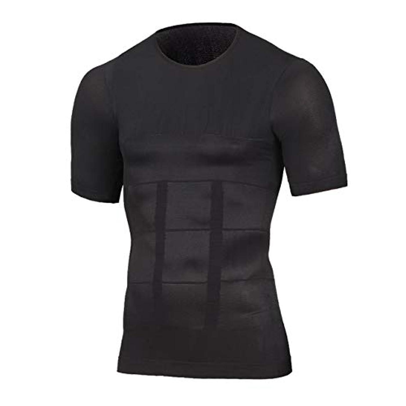 ギャンブル発行する甲虫OneHealth 加圧シャツ メンズ 加圧インナー 半袖 着圧 コンプレッションウェア ダイエット (ブラック, M)