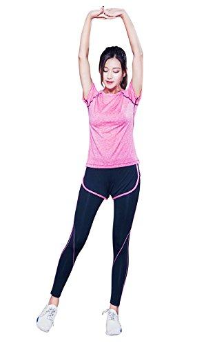AOX BRRAEL シリーズ スポーツ トレーニング ヨガ ウェア レディース 上下 パンツ 半袖 セット アップ (M, ピンク3点 セット)