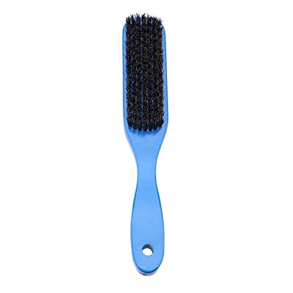 うねる休眠差別的SODIAL ブルーロータス+豚髪ハンドルヘアブラシ男性用女性用イノシシ毛櫛 理髪ヘアスタイリングひげくしブラシ