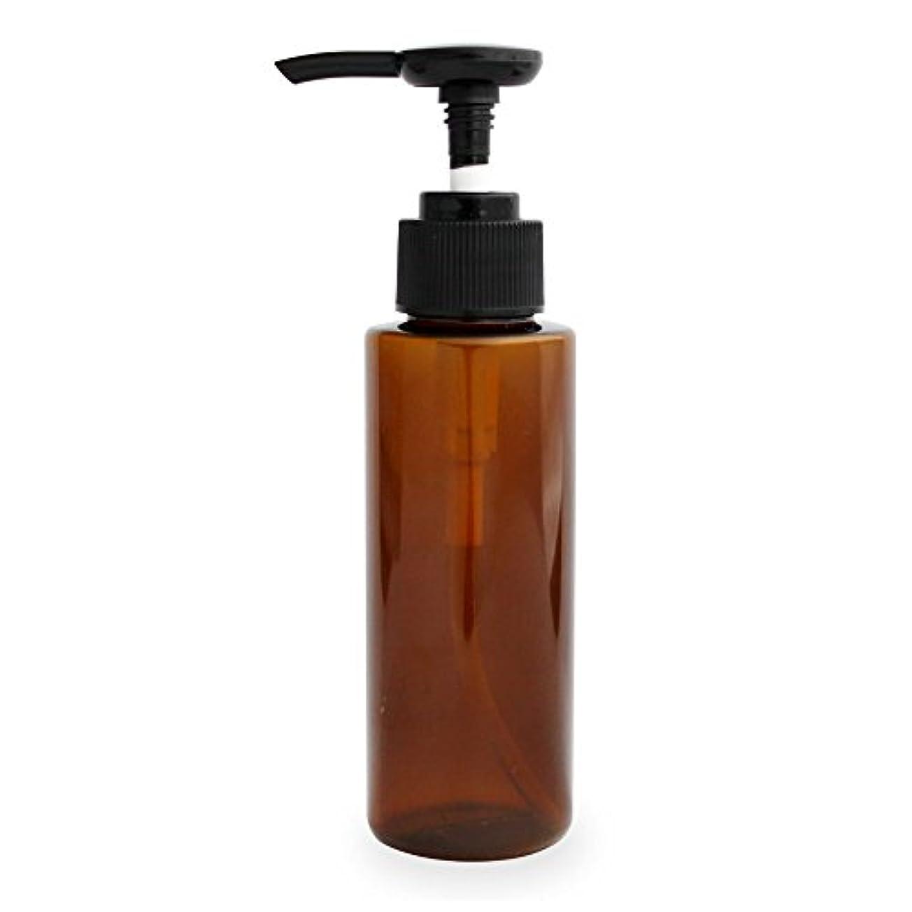 区画願う熟読ポンプボトル100ml(ブラウン)(プラスチック容器 オイル用空瓶 プラスチック製-PET 空ボトル プッシュポンプ)
