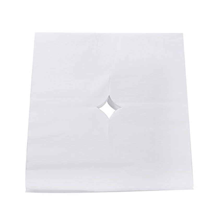 ブレス取り組む劇的Decdeal ピローシート フェイスパッド 100pcs /バッグ ベッドテーブルフェイスホールカバー スパマッサージ 美容院 使い捨て呼吸シートホワイト
