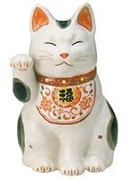 【招き猫】陶彩万福唐草招き猫 右手上げ・大(材質/磁器)
