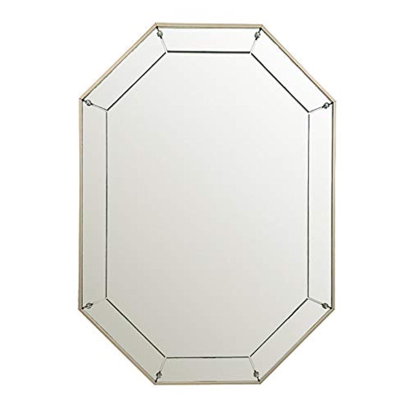 どれか第三魅力的ウォールマウントメイクアップミラー、ノルディッククリエイティブオクタゴン起毛フレーム壁掛けミラードレッサーミラー装飾玄関リビングルームのバスルーム,銀