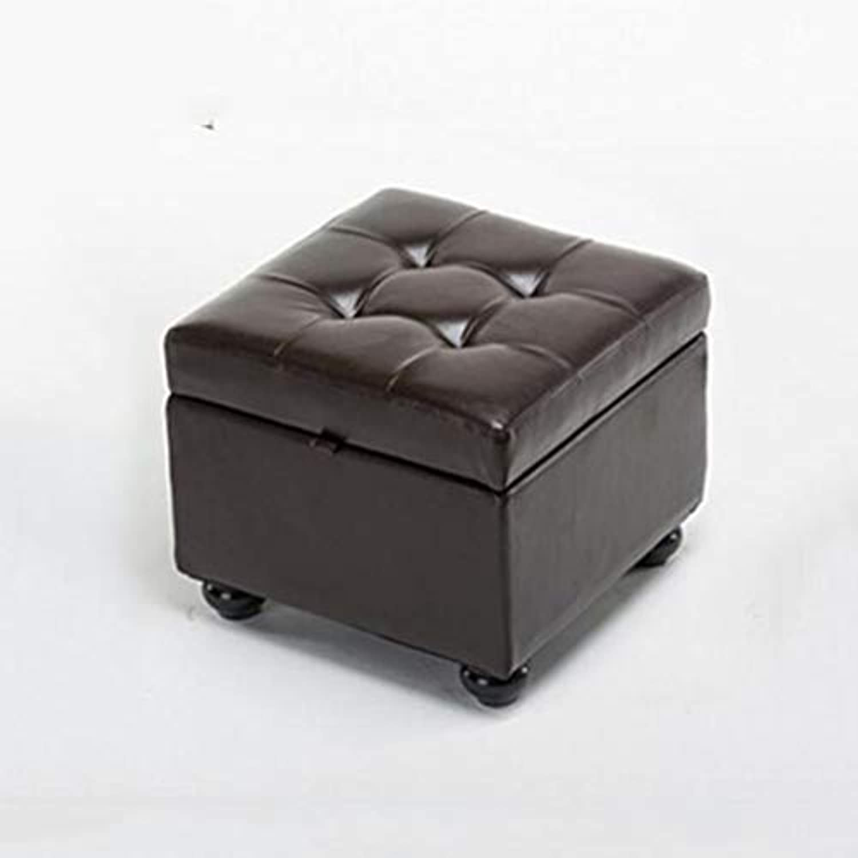 ECSD 蝶番付きのふたが付いているのどの革ボタンの房状の正方形の貯蔵のオスマンスツール、44×44×37cm (色 : ブラウン ぶらうん)