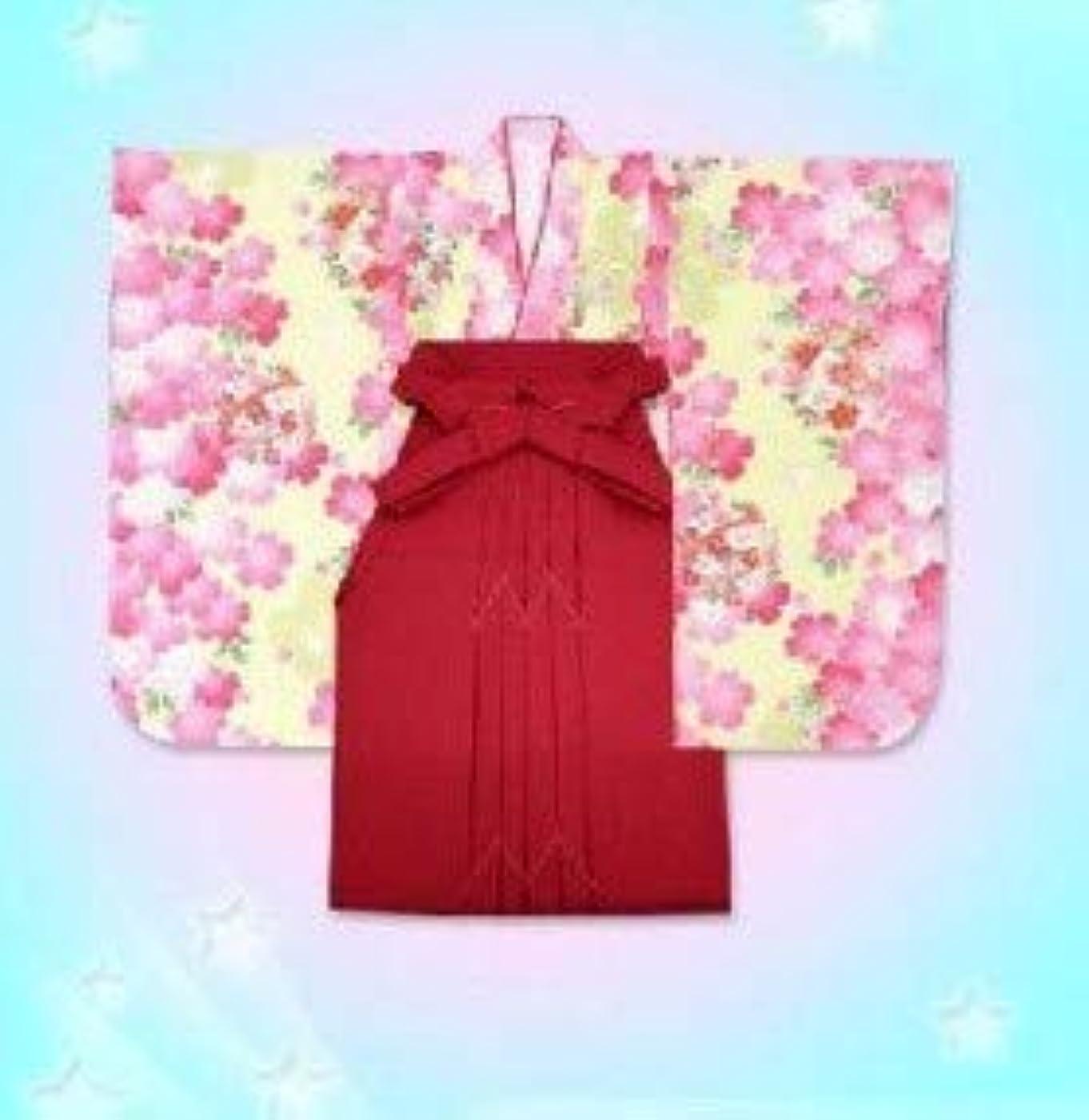 盗賊望み拡声器七五三 3歳女の子 合繊三つ身の着物「黄色、桜に花手鞠」と無地袴「ローズ」のセットD3G496mmr3