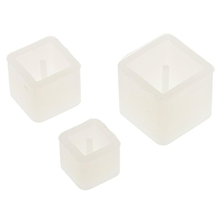 Perfk 高品質 正方形 金型 シリコーン ペンダント DIY ジュエリーツール 3個入り セット