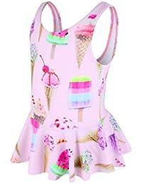 女の子 子供 可愛いダック柄 ストライプ ファッション キュート ワンピース水着 (90(3-4歳), ピンク)