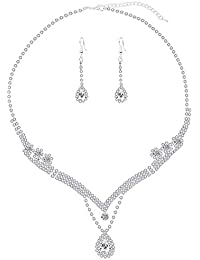 Paxuan Womens Silver Rhinestone Crystal Wedding Bridal Jewelry Sets Necklace Earrings Jewelry Set for Wedding Brides Party