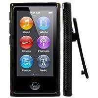 2点セット Apple iPod nano 7 デザイン カバー ケース TPU Clip Design Case (ベルトクリップ付き) アイポッドナノ 2012年 第7世代 iPod nano 7th 対応 + 液晶保護フィルム1枚【Black (黒)】