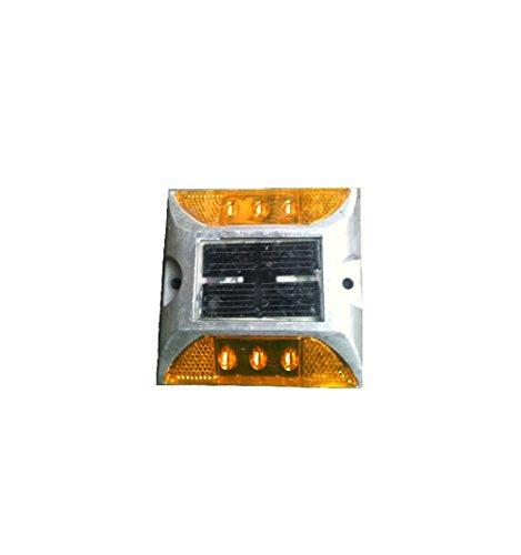 ソーラー 式 充電式 自動 点滅 鋲 路肩 鋲 道路 鋲 6 LED 付き 【 耐重量 30トン 】 アルミ合金 【 省エネ 】【 耐久性 】【 低温性能 】