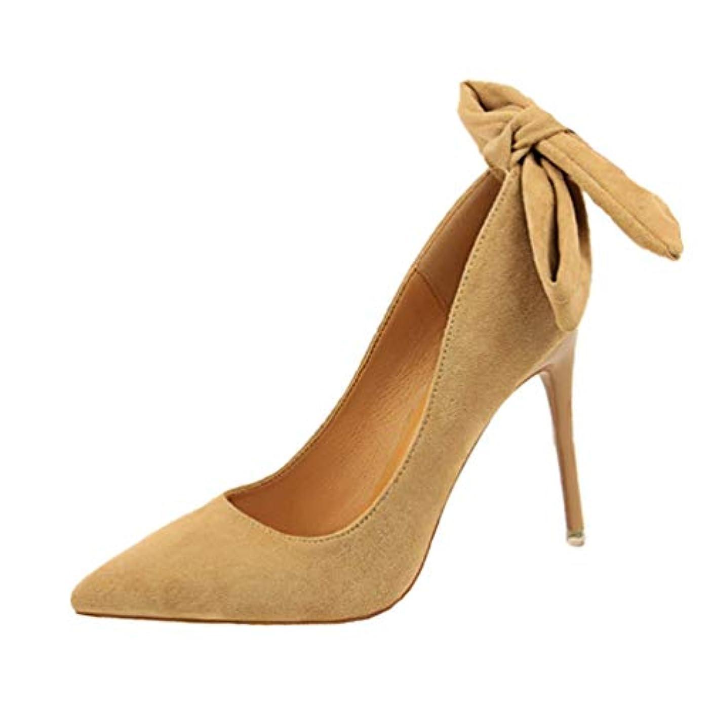 神秘的な線アテンダント女性のスリップの尖ったつま先ハイヒールの靴アンクルストラップパーティードレススティレットハイヒールの過剰摂取レディースポンプ大きな弓ノットの結婚式の靴