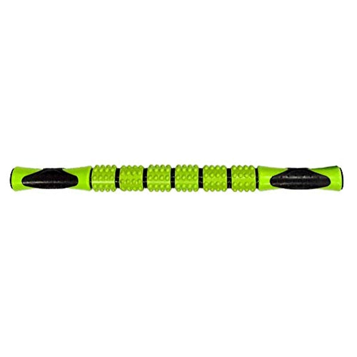 スポンサーペナルティ驚いたマッサージスティック 筋弛緩ローラー 腰痛 リガーポイント 筋膜 マッサージャー ト ヨガ フィットネススポーツフェイシアスティック持ち運び便利 痛を改善 筋筋膜リリース(緑色)