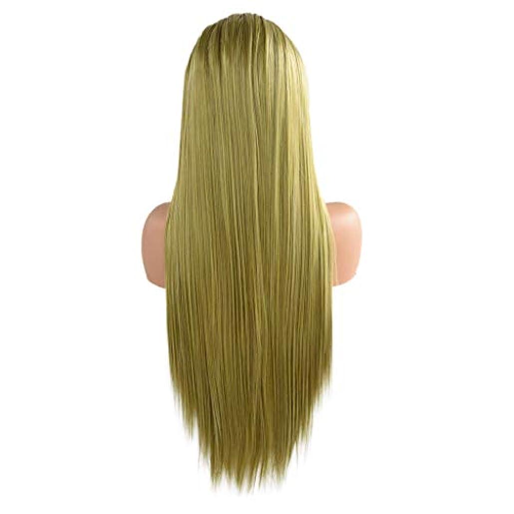 ベンチャー散髪半円ウィッググリーンロングストレートヘアフロントレースかつらセクシーなファッションウィッグ24インチ
