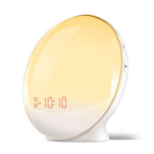 目覚まし時計 光 目覚ましライト YABAE Wake Up Light デジタル めざまし時計 子ども 自然音 ウェイクアップライト ベッドサイドランプ アラーム スヌーズ機能 おしゃれ FMラジオ 間接照明 寝室 室内 授乳 コンセント MY-09