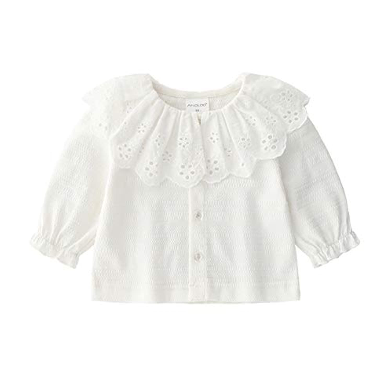 Milkiwai ブラウス 長袖 ベビー服 襟付きトップス カーディガン 女の子 出産祝い size 80 (ホワイト)