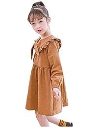 VITryst ビッグガールズヴォーグロングスリーブかわいいボウタイファインコットンスカートドレス