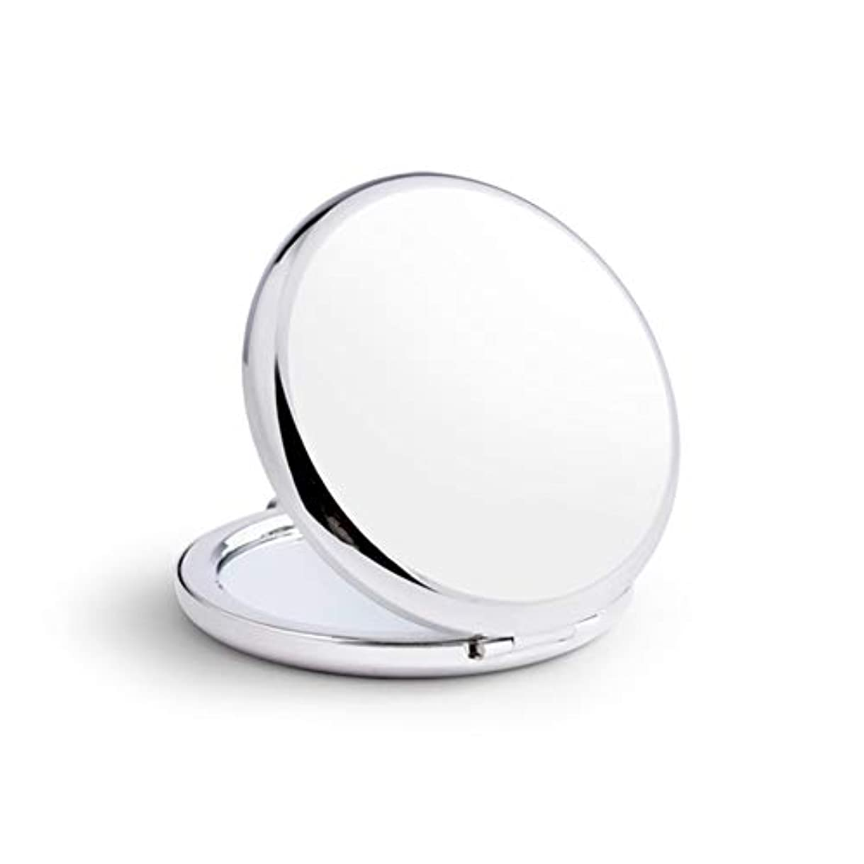 対話和解する苦しむ小さな鏡ステンレス鋼鏡鏡手鏡女姫携帯折りたたみ両面180度回転(丸) (銀)