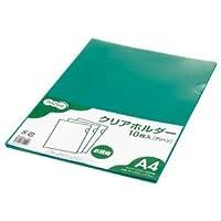 (まとめ) TANOSEE カラークリアホルダー 単色タイプ A4 グリーン 1セット(30枚:10枚×3パック) 【×10セット】