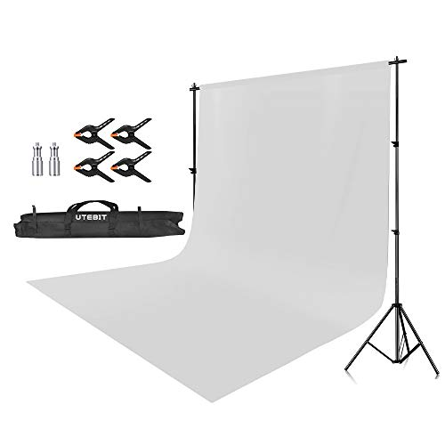 UTEBIT 背景スタンド + 背景布 白 + 強力クリップ 4点 セット 専用キャリーバッグ付 高さ75cm-205cm×幅140cm-280cm 1.8 * 2.8mの 背景 紙/バックペーパー / スクリーン/写真 白ホリ/撮影 に適用 バックグラウンドサポート スタジオ撮影機材