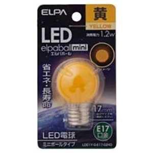 ELPA LED電球 ミニボール電球形(黄色) elpaballmini LDG1Y-G-E17-G243