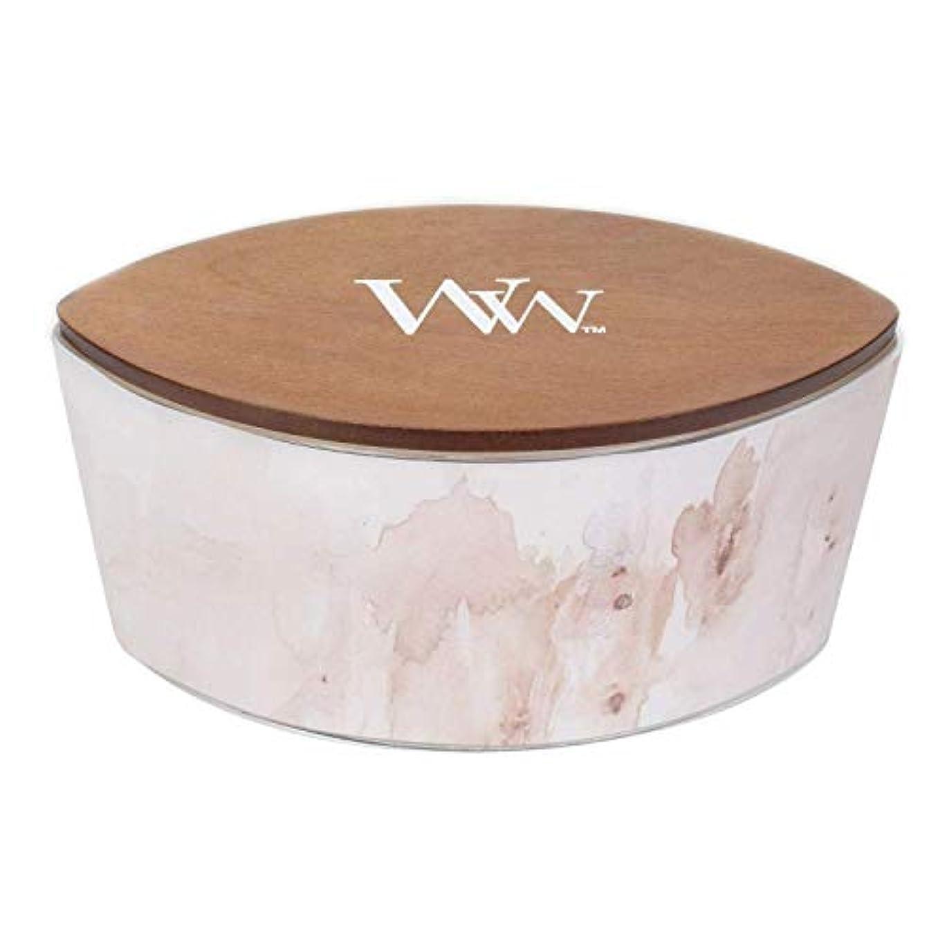 明らかお茶代数バニラSolアーティザンコレクション楕円WoodWick香りつきJar Candle