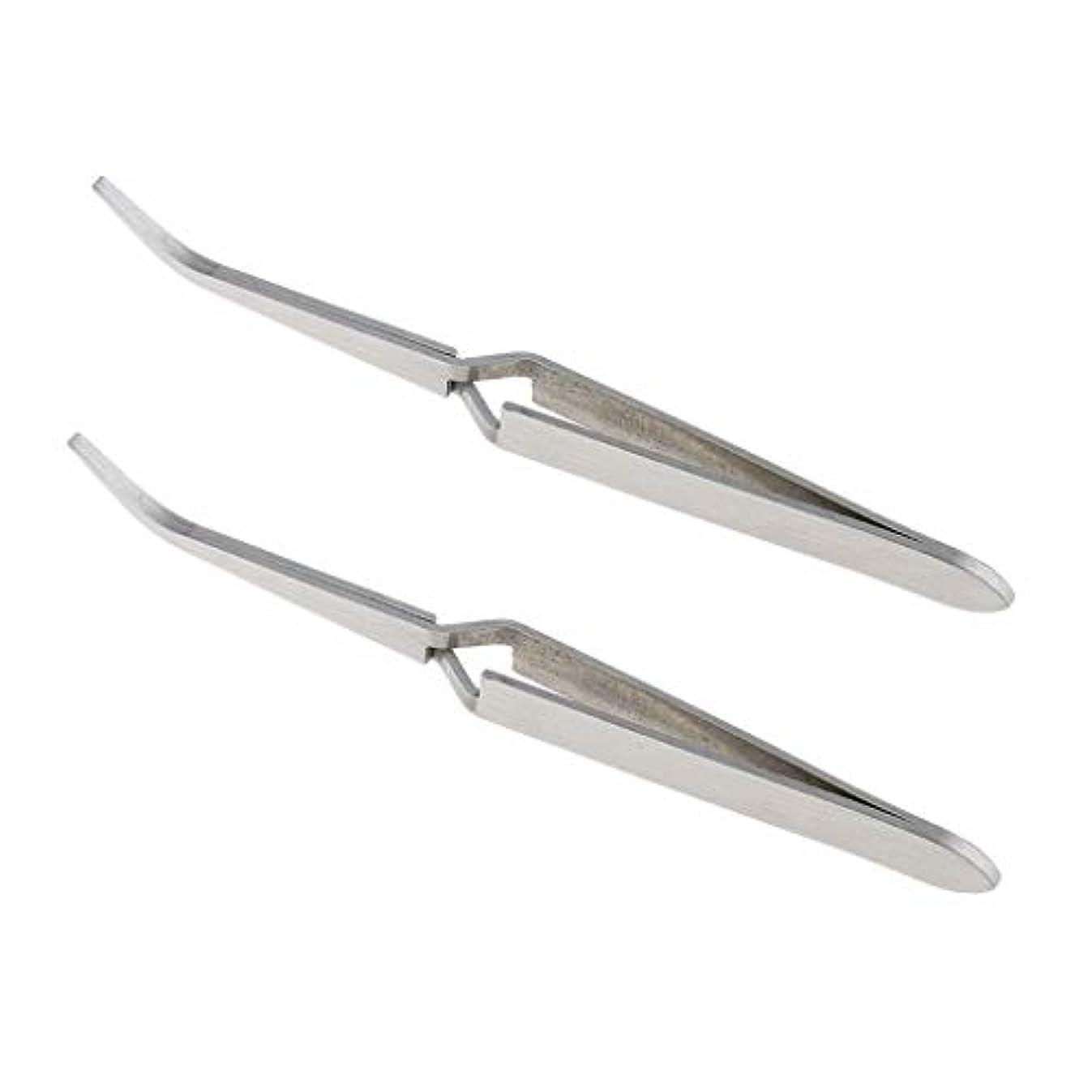 南極苗することになっている2個 ステンレス鋼 Cカーブ マニキュア 爪 ピンセット 修復 クランプ 爪 に適う 爪 アート ラインストーン ピッキング デコレーション クリッピング