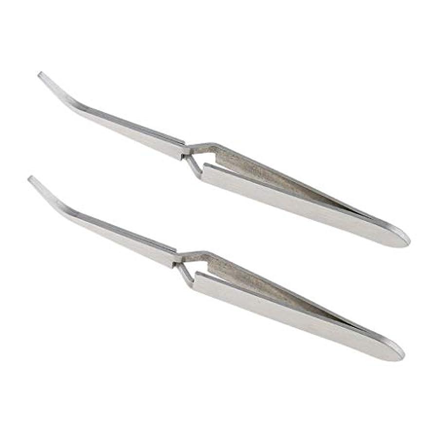 少年重荷アジア人2個 ステンレス鋼 Cカーブ マニキュア 爪 ピンセット 修復 クランプ 爪 に適う 爪 アート ラインストーン ピッキング デコレーション クリッピング
