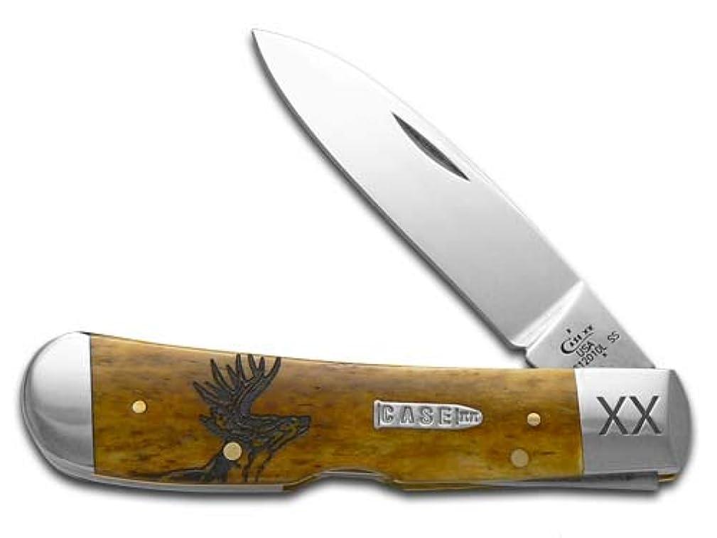 ターゲット決めます船外CASE XX Deer Scene アンティークボーン トライバルロック 1/500 ステンレスポケットナイフナイフ