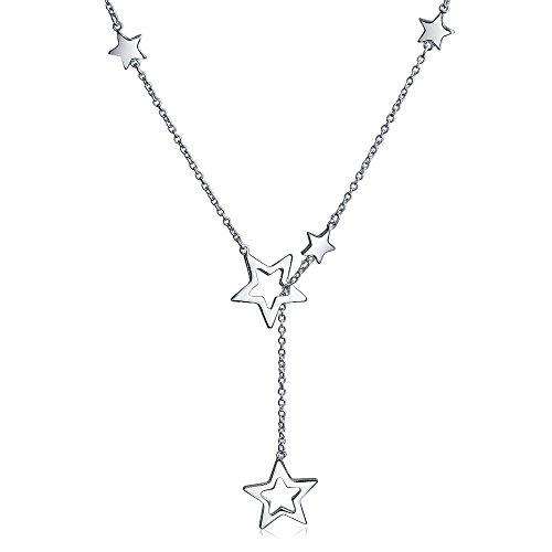[ブリング・ジュエリー] Bling Jewelry スターリングシルバーSILVER 925 オープン スター ダングル ラリエット ネックレス[インポート]