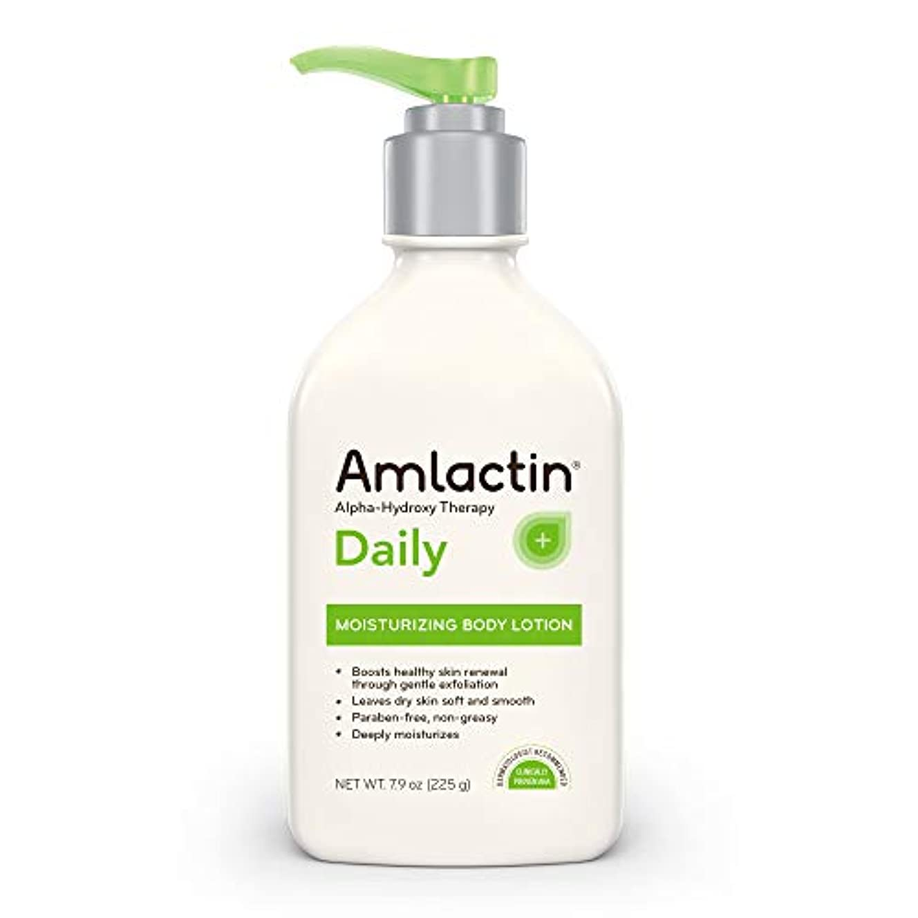 AmLactin デイリーモイスチャライジング ボディローション 瞬時に水分補給 粗さを和らげる 強力なアルファヒドロキシセラピー 優しく体を拡散 粗く滑らか ドライスキン パラベンフリー 7.9オンス