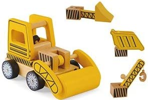 Wooden Construction Vehicles Set - Take Apart Toy - 6 Piece Set - Digger/Bulldozer/Dump Truck - Fun Educational Building...