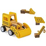Wooden Construction Vehicles Set - Take Apart Toy - 6 Piece Set - Digger/Bulldozer/Dump Truck - Fun Educational Building Toys