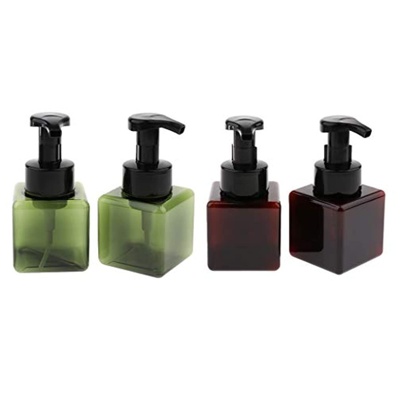 標高ぼかすプレフィックス小分けボトル 泡ポンプボトル 詰め替え容器 ディスペンサー スクエア 再利用可 250ml 4個 全5色 - ダークグリーン+ブラウン