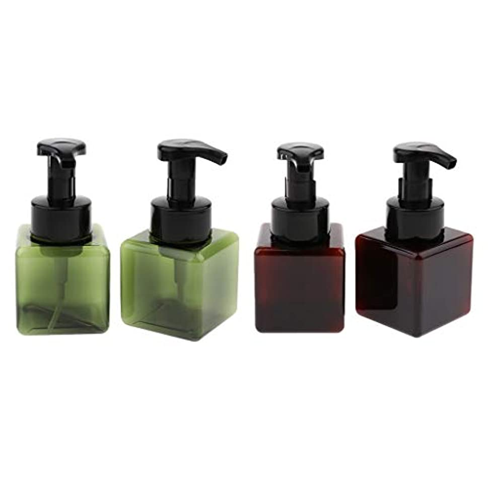 こっそり年費用Hellery 4個入り詰め替え容器 泡ポンプボトル 小分けボトル ディスペンサー スクエア 再利用可 250ml 全5色 - ダークグリーン+ブラウン