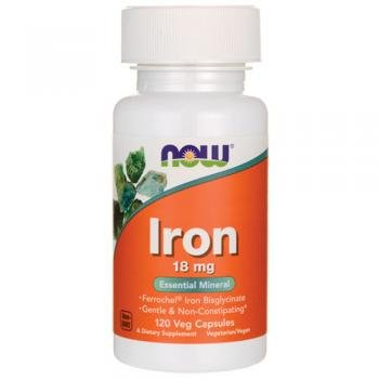 NOW Foods - 鉄(Ferrochelによってキレート環を作られる鉄) 18 mg。120ベジタリアン用カプセル