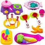 TukTek Kids First 20 Piece Super Mini Toy Table & Cookware Kitchen Playset w/ Pots Pans Utensils Pretend Food for Girls & Boys