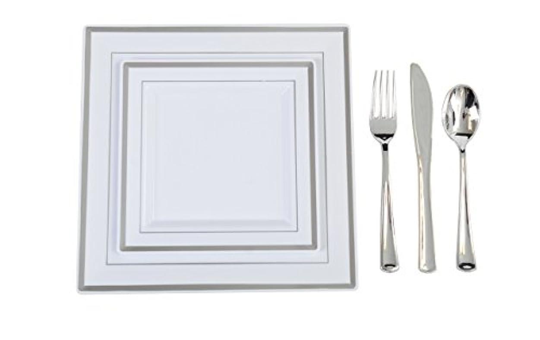 ランプ駐地ベスビオ山ADORN Plastic China Plate Silverware Combo Serving for 20, White/Silver, 115 Piece by ADORN