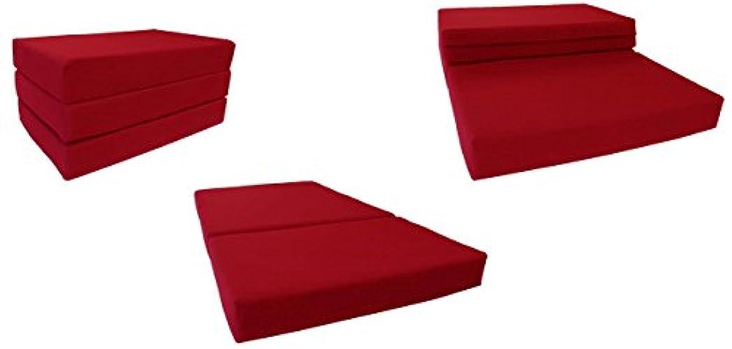 エイリアン郵便交通渋滞レッドソリッドツインサイズShikibuton三つ折りFoam Beds 6厚X 39 W x 75インチ長、1.8 KG高密度ResilientホワイトFoam、床Foam折りたたみマット。