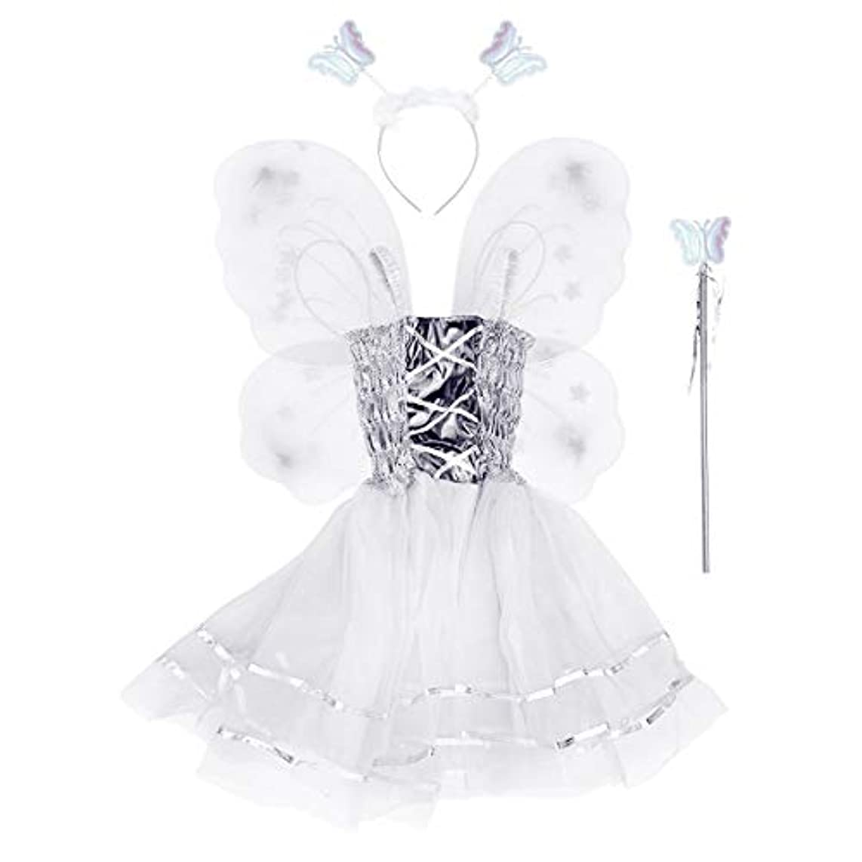 肥沃な役割散髪BESTOYARD 4本の女の子バタフライプリンセス妖精のコスチュームセット蝶の羽、ワンド、ヘッドバンドとツツードレス(ホワイト)