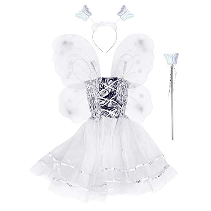 剥ぎ取るトレイルあそこBESTOYARD 4本の女の子バタフライプリンセス妖精のコスチュームセット蝶の羽、ワンド、ヘッドバンドとツツードレス(ホワイト)