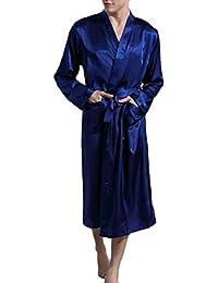 Sodossny-JP メンズファッションサテンローブシルクロングスリーブロング着物バスローブ寝台