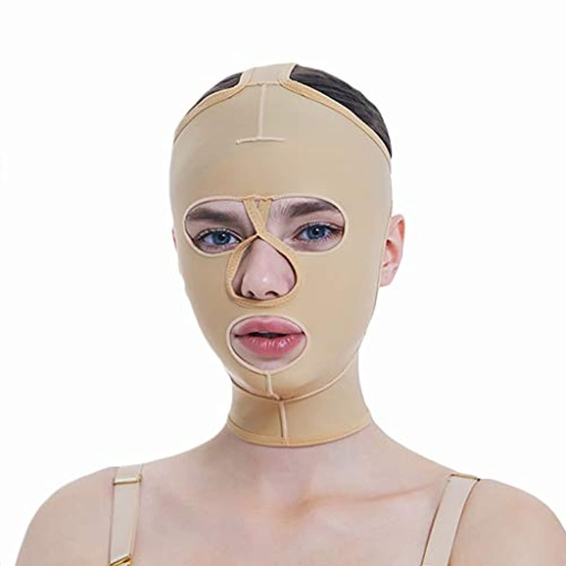 XHLMRMJ 顔の減量マスク、フルカバレッジ包帯、フルフェイスリフティングマスク、フェイスマスク、快適で通気性、リフティングシェーピング (Size : M)